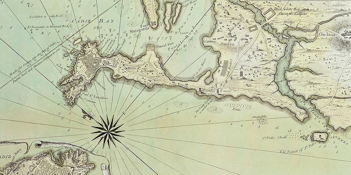carta esférica del istmo de cádiz